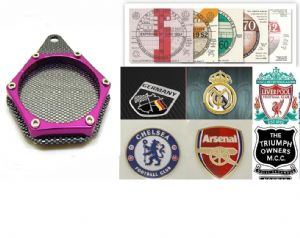 MOTORCYCLE Tax Disc Holder: Coat of Arms, Football Club, Moto Club Badge Holder. [Carbon/Purple]
